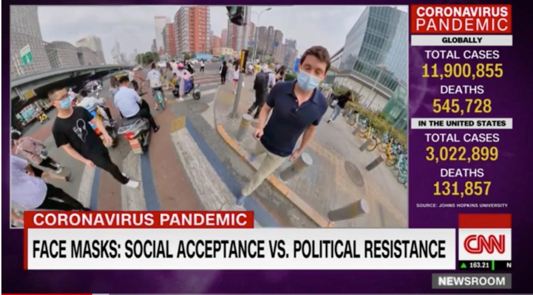 CNN记者卡尔弗向美国人全方位展示了中国人戴口罩的情况